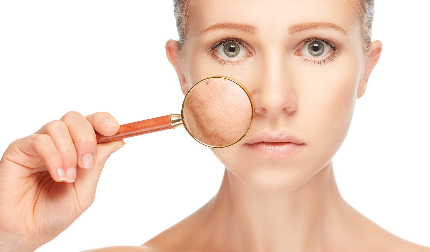 concept skincare. Skin of woman with magnifier before and after the procedure